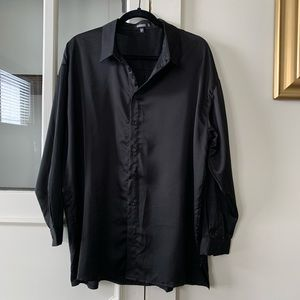 MISGUIDED SATIN BUTTON DOWN